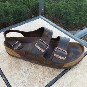 BIRKENSTOCK Brown Leather Sandals Shoes Mens 10